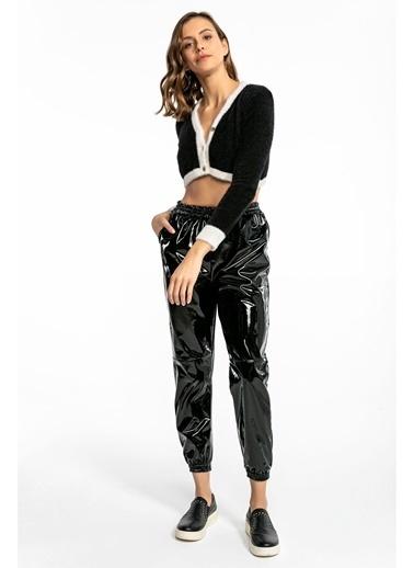 Tiffany&Tomato Paçası Lastikli Parlak Jogger Pantolon - Taba Siyah